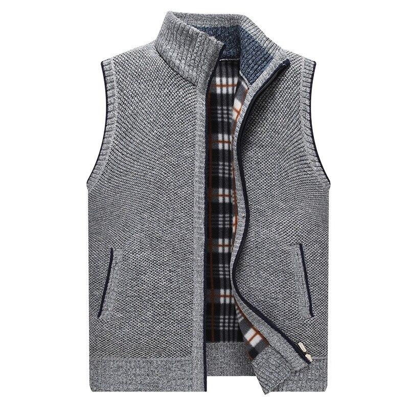 Кардиган, свитер, жилет с воротником-стойкой, утепленный флисовый свитер большого размера для мужчин среднего и пожилого возраста, вязаный ...