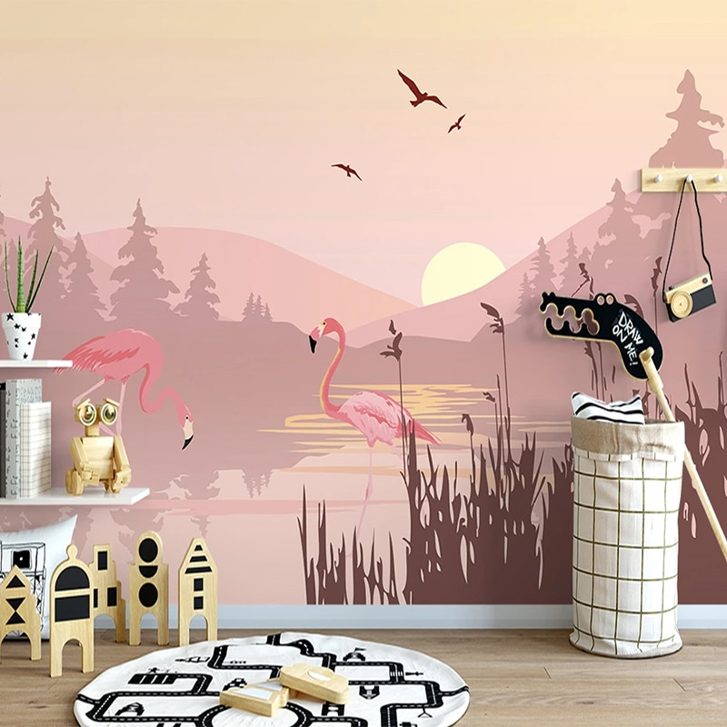 Papel pintado fotográfico nórdico INS paisaje Rosa pájaros atardecer Mural De paisaje sala De estar dormitorio decoración para el hogar romántica Papel De pared 3 D