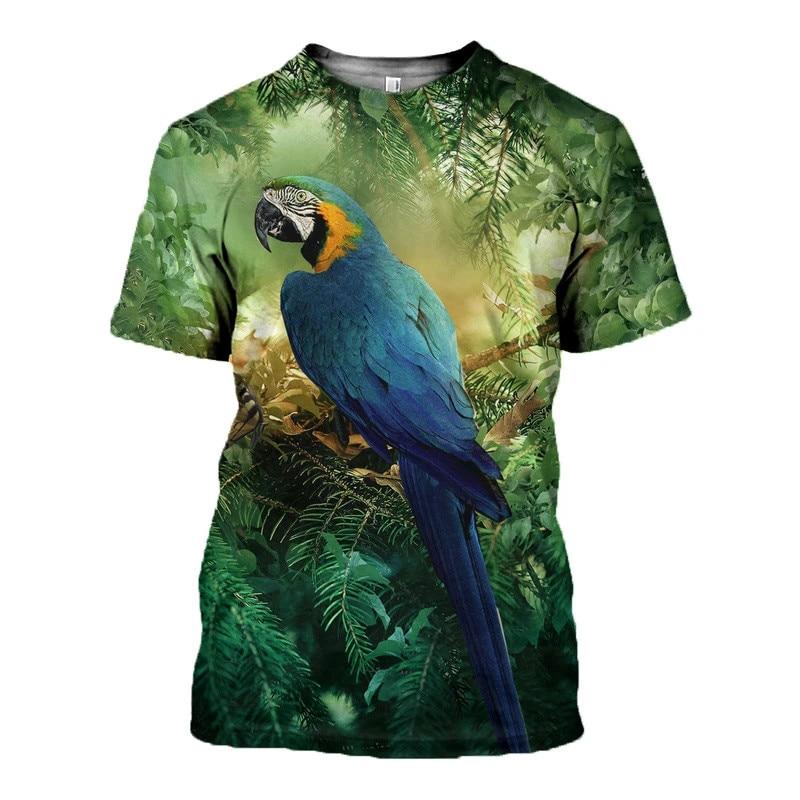 Фото - 2021 hot sale parrot figure 3D printing T-shirt men's and women's short-sleeved Harajuku T-shirt street casual T-shirt 2021 latest hot sale 3d cartoon print short sleeved t shirt harajuku t shirt 110 xxs 6xl