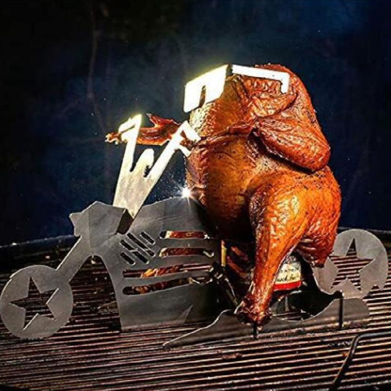Soporte de pollo portátil para motocicleta americana, estante de acero inoxidable con...