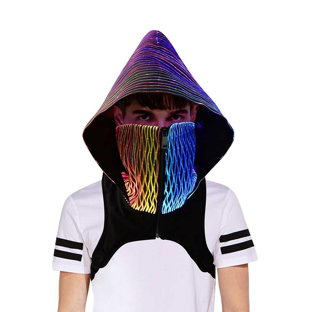 2021 Newest Party Wear Men Women Led Hood Mask Light Up Cyber Punk Mask Cap Skullies Beanies
