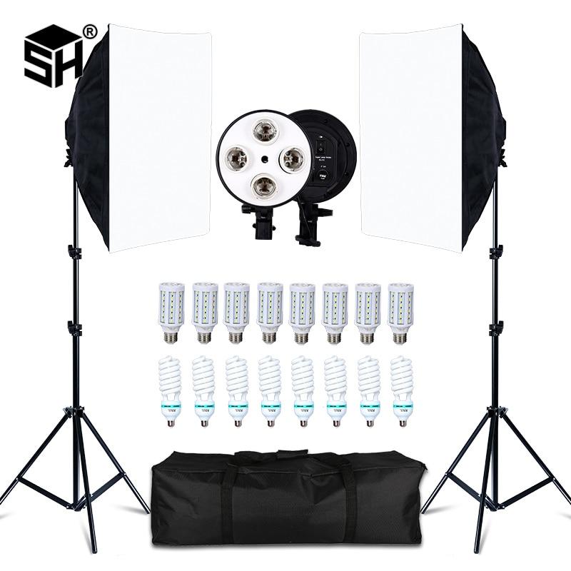 التصوير الفوتوغرافي سوفت بوكس أربعة أصحاب مصباح عدة إضاءة نظام إضاءة مستمر استوديو الصور مع E27 لمبة التصوير الفوتوغرافي الملحقات