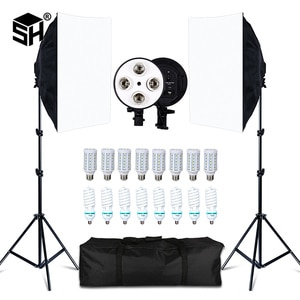 SH Photography Softbox Light Kit Four Lamp Holders Continuous Light System With E27 Photographic Bulb Accessories Photo Studio