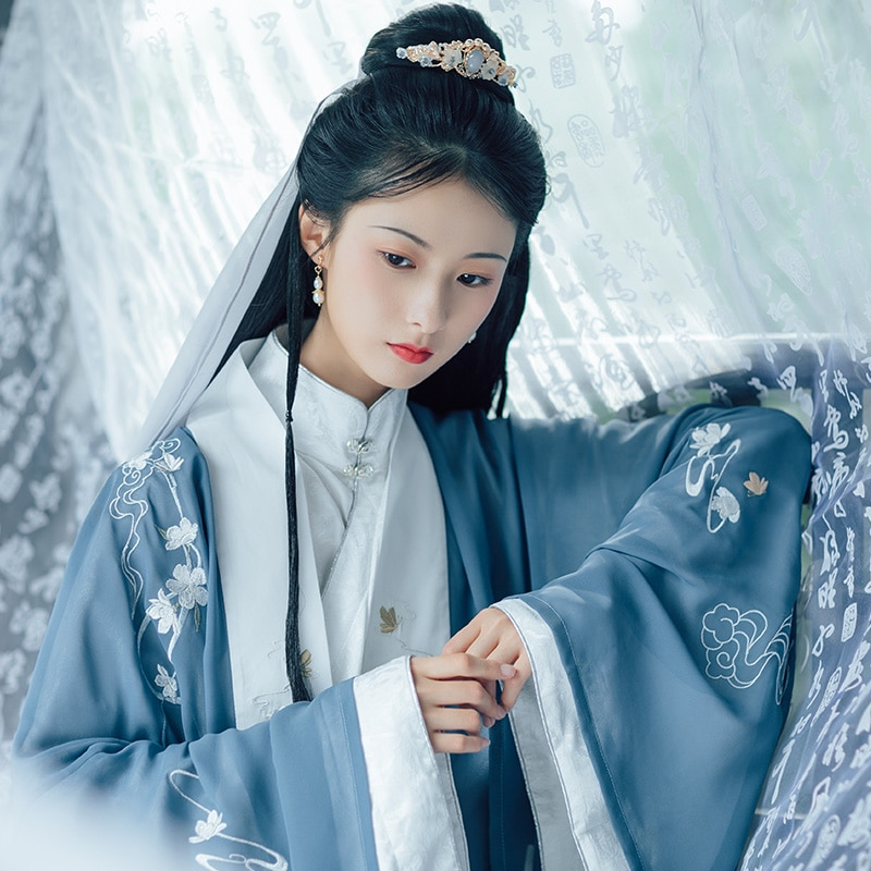 المرأة الكلاسيكية ملابس رقص الشرقية Hanfu التطريز فستان جنية مهرجان الزي الهذيان أداء الملابس القديمة ارتداء DF1083