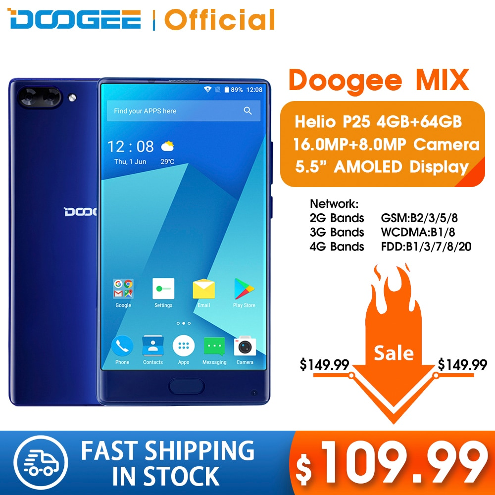 DOOGEE MIX 4GB+64GB bezel-less Smartphone Dual Camera 5.5 AMOLED MTK Helio P25 Octa Core mobile phones