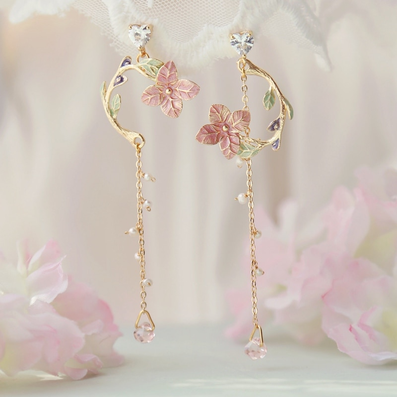 MENGJIQIAO-pendientes colgantes largos de Metal y flor rosa para mujer y niña,...