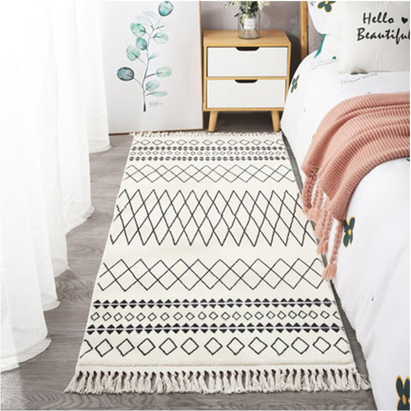Kilim-سجادة على الطراز المغربي ، للمنزل ، غرفة المعيشة ، غرفة النوم ، السرير ، شرابة سميكة ، منقوشة هندسية ، باللونين الأسود والأبيض