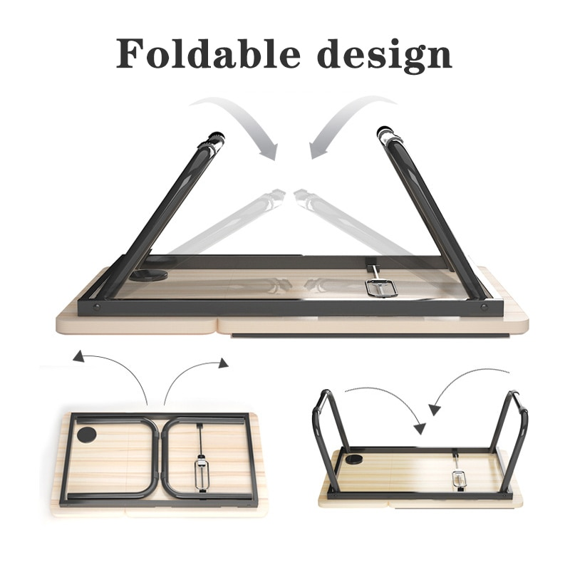 Folding Laptop Desk for Bed Portable Computer Tray for Sofa Table for Writing 4 Angles Adjustable Laptop Table with Cup Holder enlarge