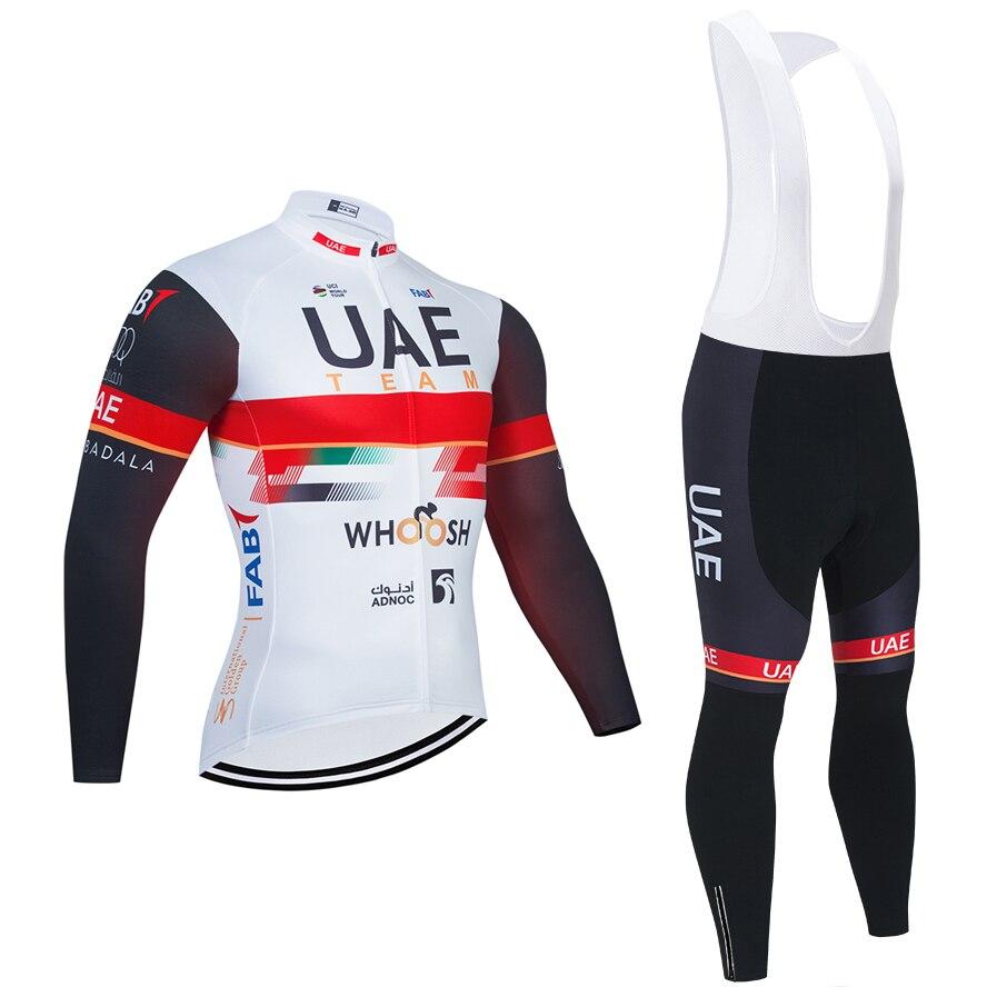UAE TEAM-Camiseta larga de Ciclismo para hombre, conjunto de pantalones térmicos de...