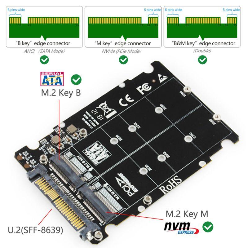 M.2 ssd para u.2 adaptador 2 em 1 m. 2 nvme sata-bus NG-FF ssd para pci-e u.2 SFF-8639 pcie m2 conversor de adaptador para computadores de mesa