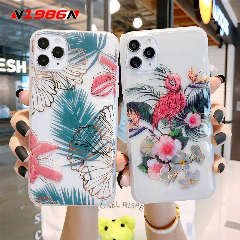 N1986N funda de teléfono para iPhone 11 Pro X XR XS Max 7 8 Plus SE lujo chapado flores Banana hoja claro IMD para iPhone X funda de teléfono