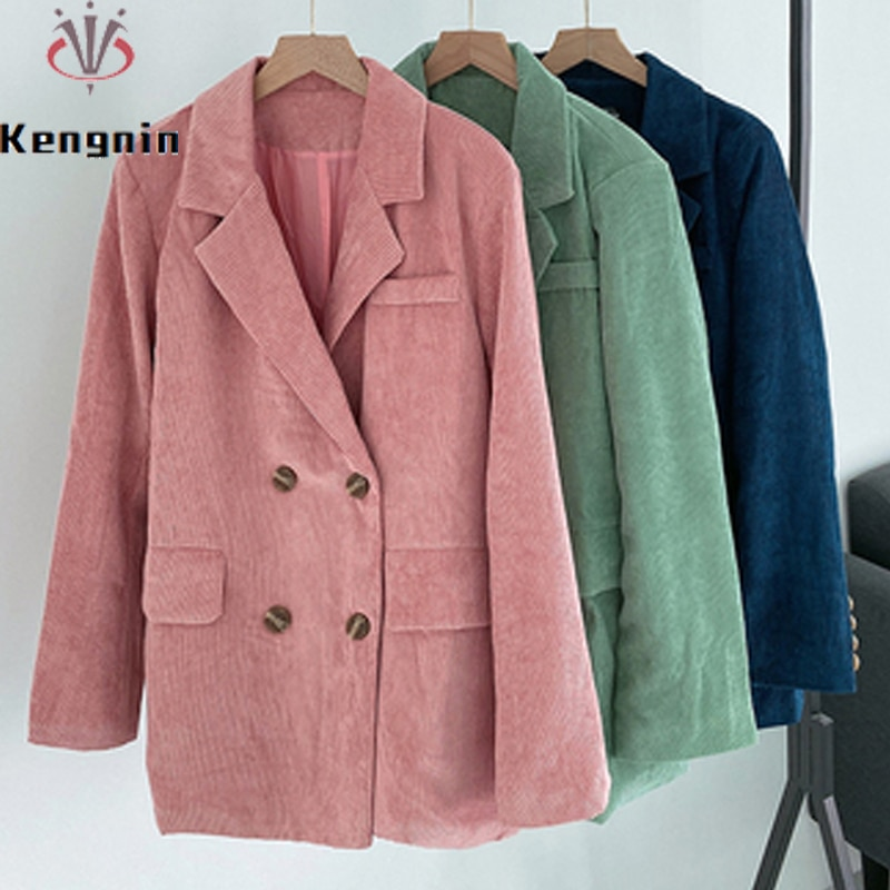 Plus Size 4XL Women Blazers 2021 Autumn Winter Casual Ladies Jackets Loose Long Sleeve Thick Basic C