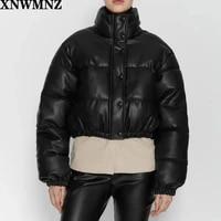 za autumn winter women 2020 fashion faux leather thick warm padded jacket coat vintage elastic hem female outerwear chic top