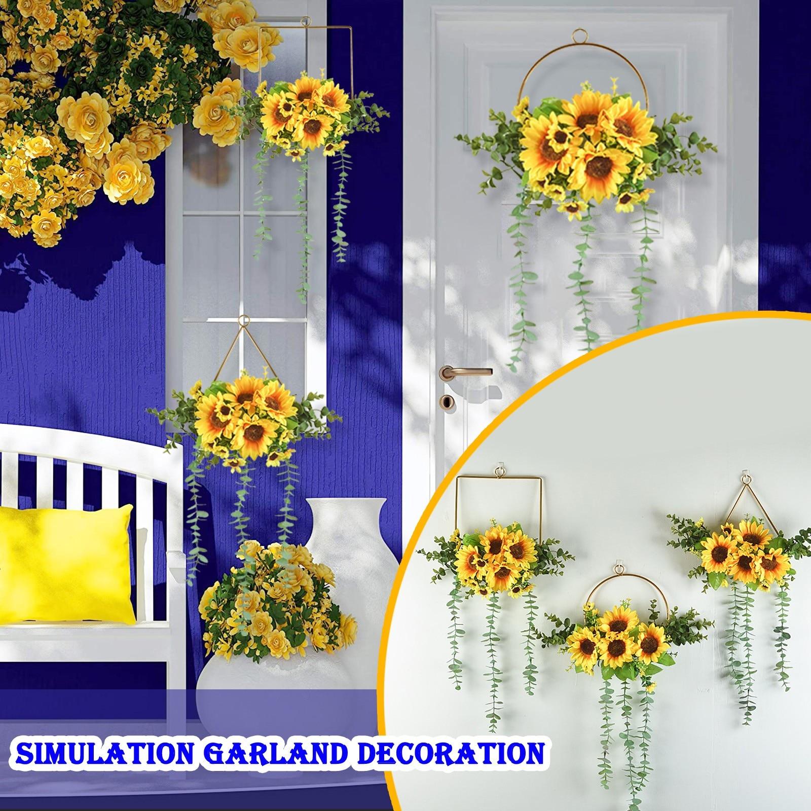 Simulación de arte del hierro, planta de flores de sol, decoración colgante...