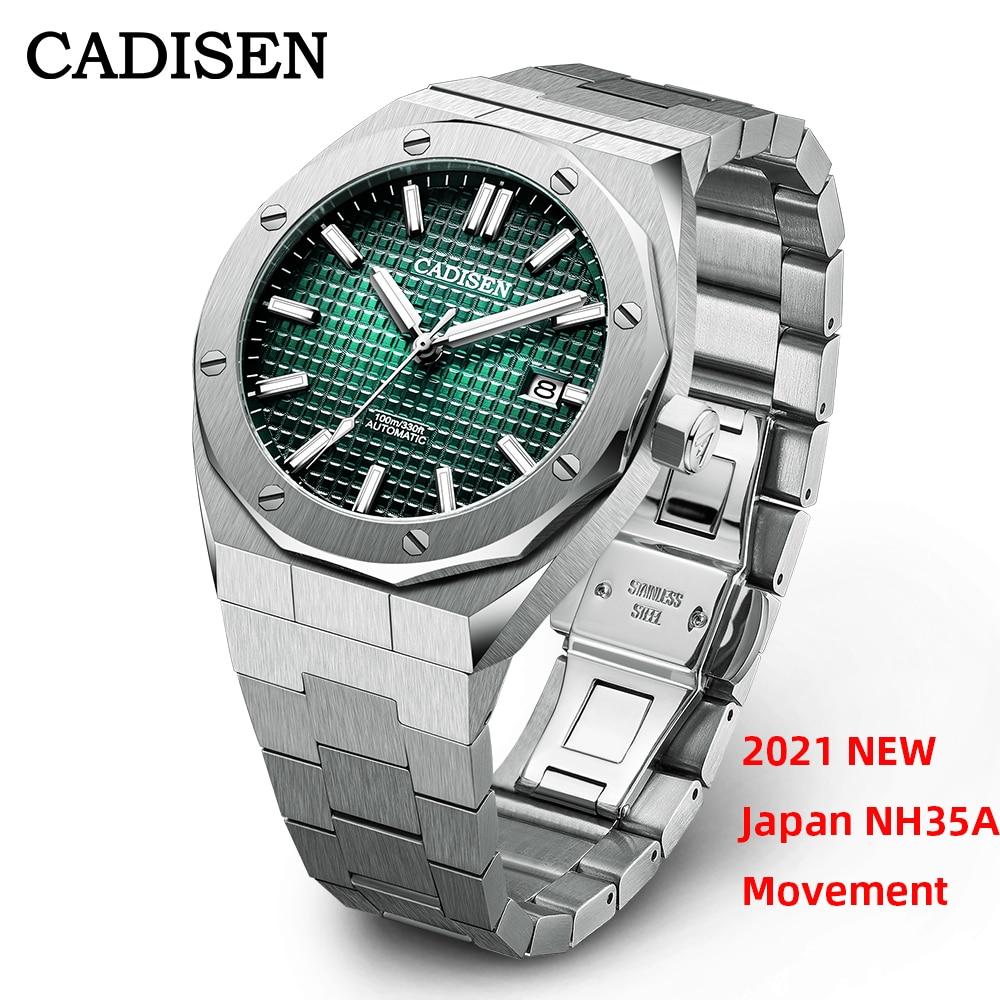 часы мужские CADISEN Мужские механические часы, японский стиль NH35A Move, автоматические, 10ATM, с датой C8193