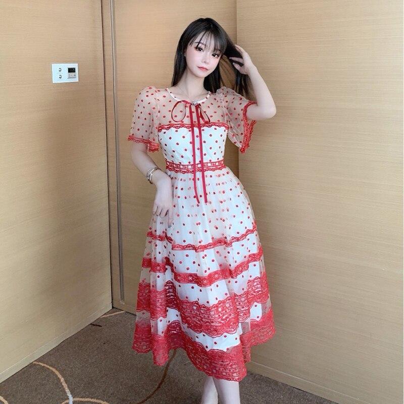 Ploka Dot-vestido Midi largo de mujer, vestido rojo de talla grande Vintage bordado con lazo de malla de retazos para fiesta elegante B186