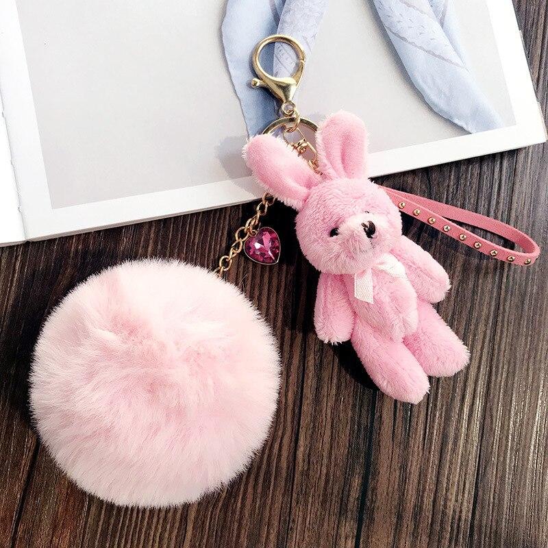 LLavero de felpa mullido de conejo Rosa bonito para mujer chica Animal pompón piel sintética llavero bolsa colgante dijes joyería regalo de joyería