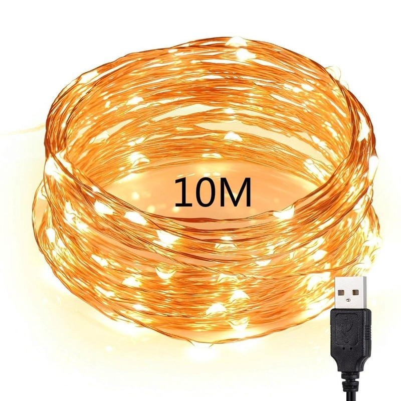led string light silver wire fairy lights usb garland home christmas wedding party decorations light powered by usb 5m 10m 20m 10M 100 LED Silver wire DC 5V USB LED String Lights Waterproof Fairy Light Garland For Home Christmas Wedding Party Decorations