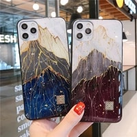 phone cases creative light luxury flowing jinshan peak for iphone 12 11 pro max xr plus glitter soft silicone cover for iphone