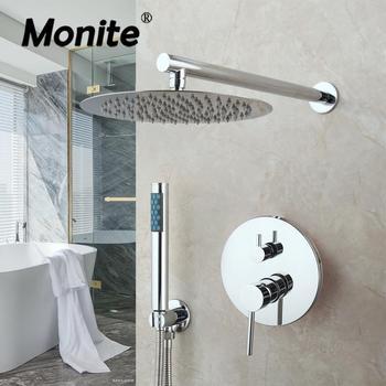 Monite 8 Inch Chrome Polished Round Modern Rainfall Wall Mounted Bathroom Shower Faucet Sets Shower Head & Hand Shower Set