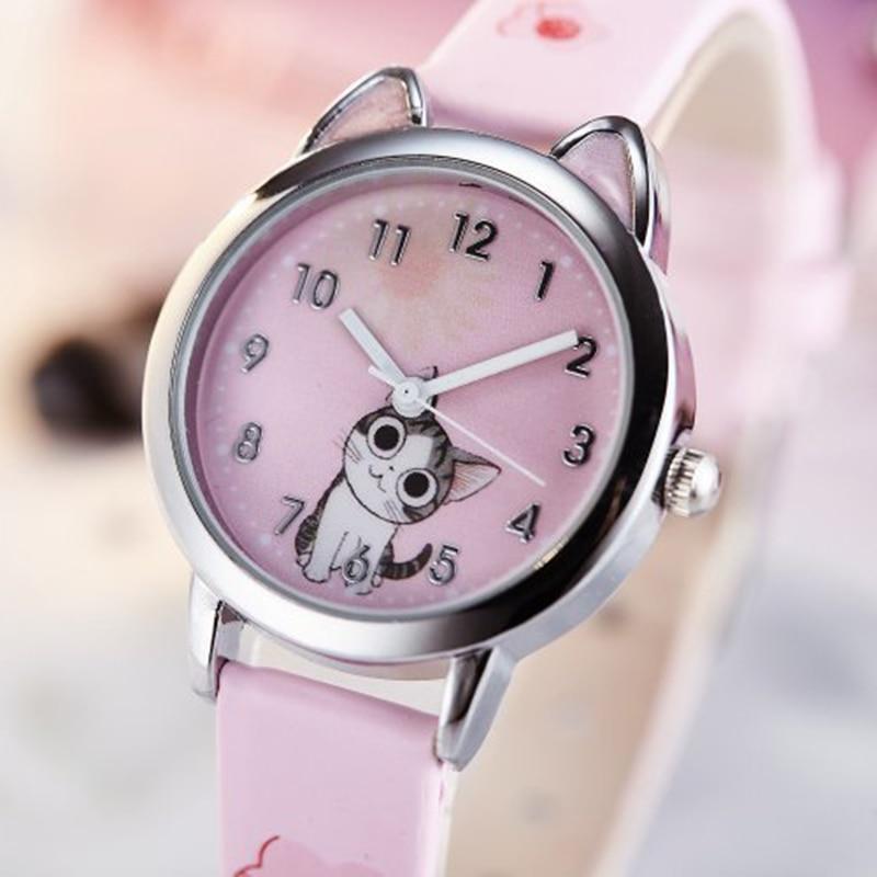 2020 Cute Cheese Cat Pattern Kids Watch Quartz Analog Child Watches For Boys Girls Student Clock Gift Relogio Feminino