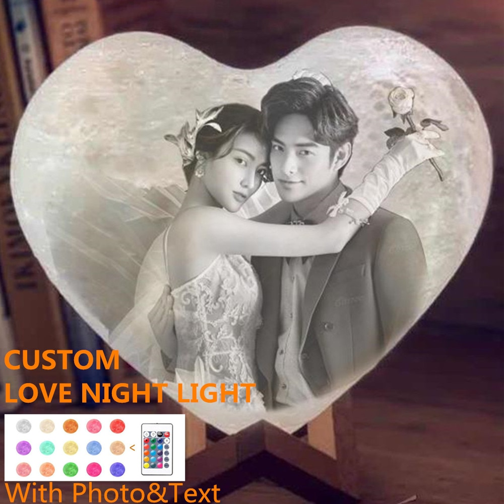 Dropshipping Customized Love Night Light 3D DIY Moon Night Lamp For Valentine's Day Gift Text & Phot
