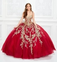 red v neck ball gown quinceanera dresses sleeveless sweep train appliques vestidos de quinceaneras 2021 elegant