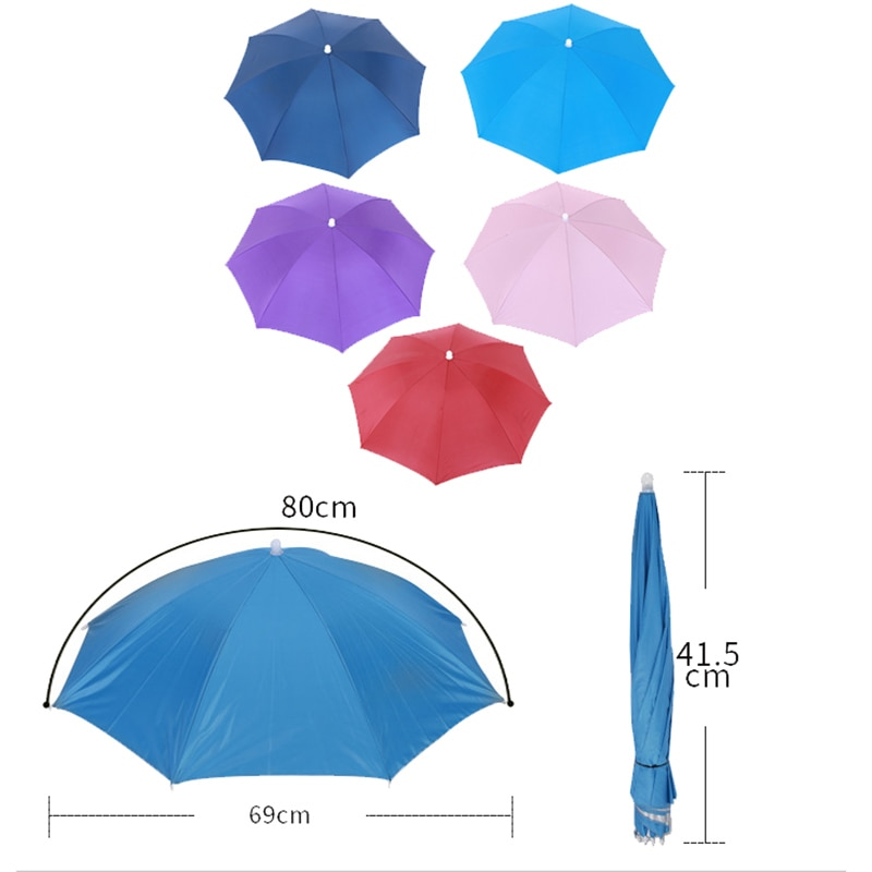 New Rain Umbrella Hat For Fishing Hat Foldable Outdoor Pesca Sun Shade Waterproof Camping Fishing Headwear Cap Beach Head Hats enlarge