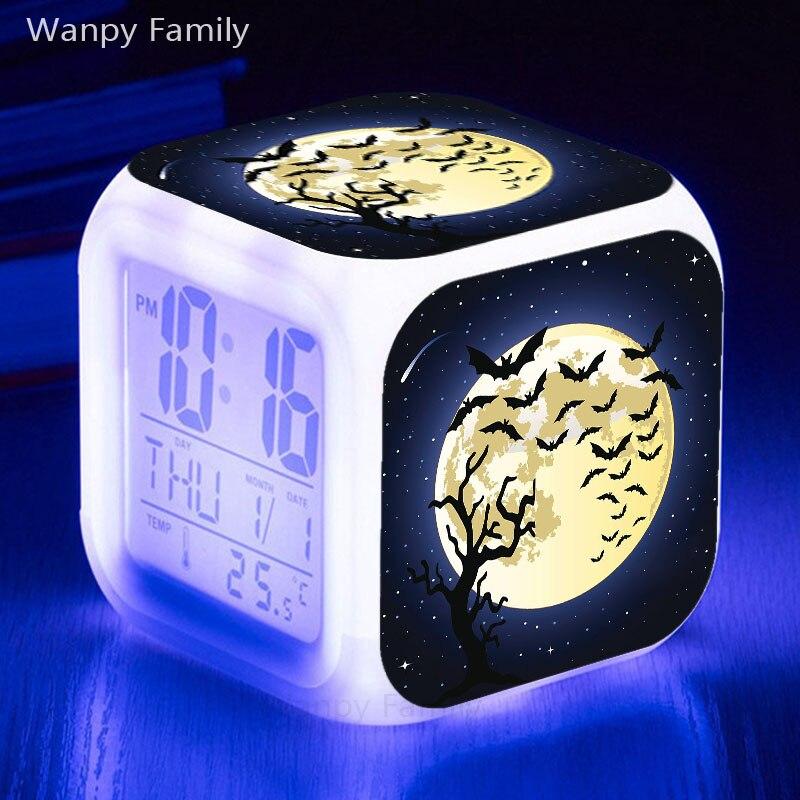 Dark Hunter Bat Alarm Clock 7 Color Glowing LED Digital Clock For Kids Birthday Gift Multifunction Night Lights Electronic Clock