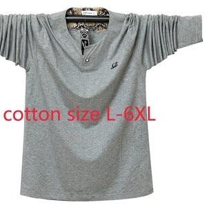 New Fashion Cotton Large Men Long Sleeve Spring Autumn Thin Casual V-neck Print Knitted T Shirt Plus Size LXL2XL 3XL 4XL 5XL 6XL