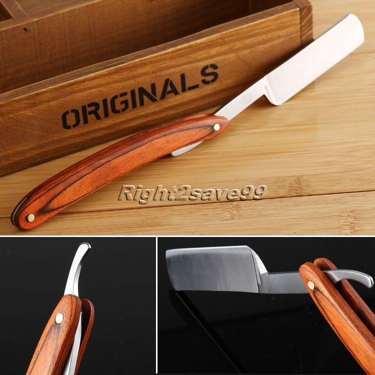 Maquinilla de afeitar Retro plegable de acero de madera de barbero recto barba hombres de garganta cuchillo de afeitar corte herramienta regalo masculino de alta calidad