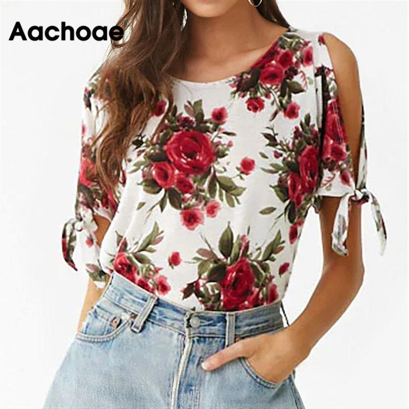 Aachoae, camiseta informal de verano para Mujer, 2020, camiseta sexi con hombros descubiertos con estampado Floral, camiseta de manga corta, camiseta con lazo, camisetas para Mujer