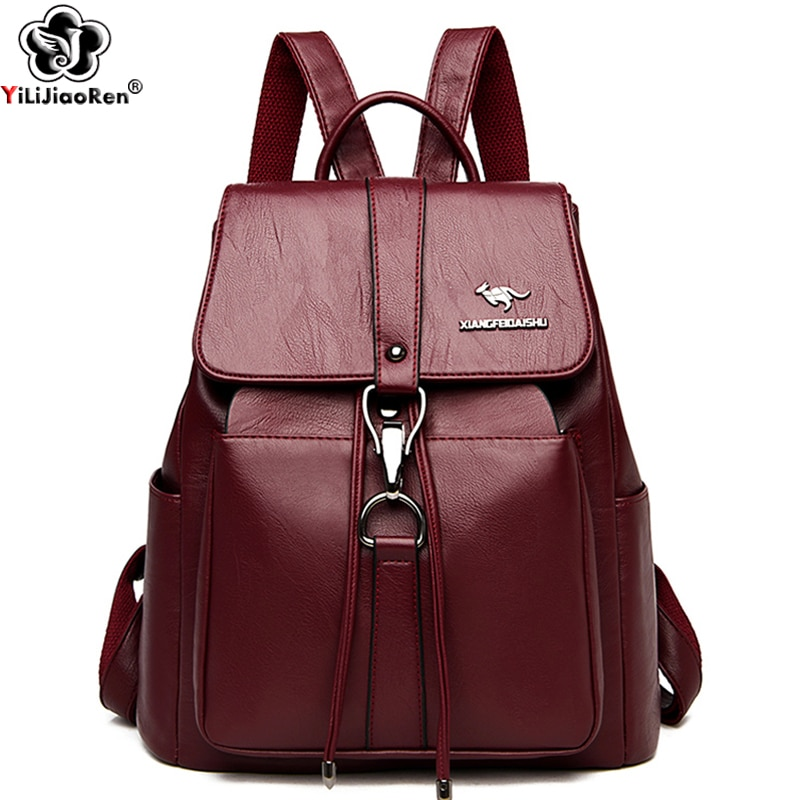 Anti Theft Backpack Women Shoulder Bag Famous Brand Leather Backpacks For Girls Large Capacity School Bags Ladies Back Pack casual backpack female brand leather women s backpack large capacity school bag for girls double zipper leisure shoulder bags