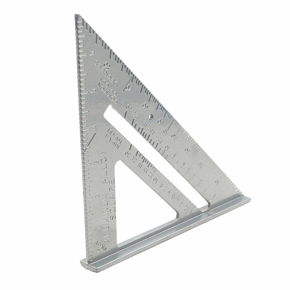 Regla triangular de aleación de aluminio de 7 pulgadas decoración de carpintería triángulo grande regla para ángulos regla triangular de alta precisión