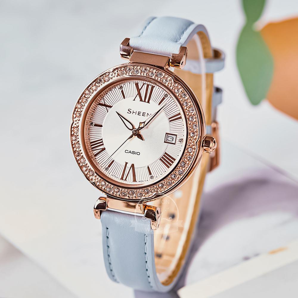 Casio watch Swarovski Crystal women watchs top brand luxury set ladies watch 50mWaterproof Quartz Sport reloj mujer SHE4057PG enlarge