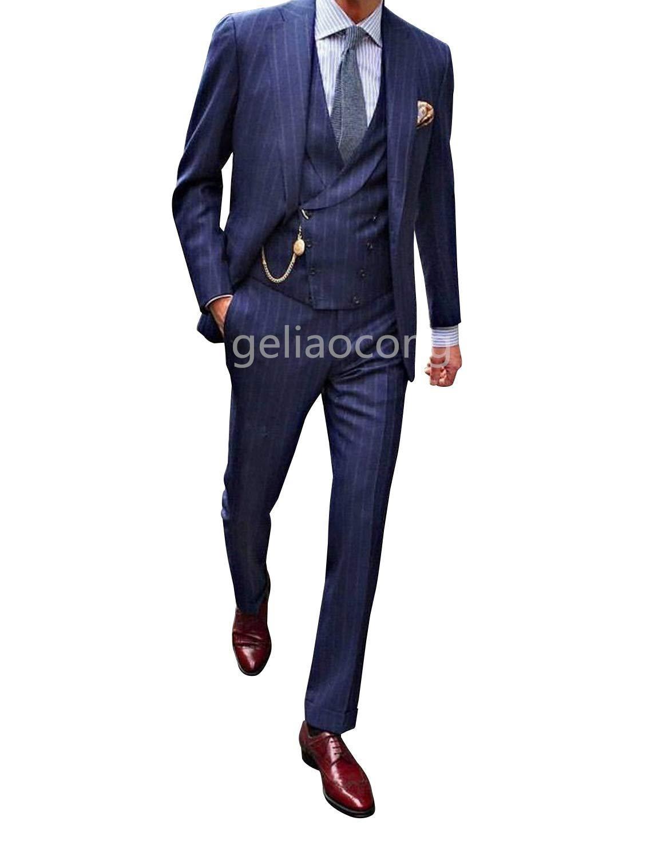2020 جديد ملابس رجالي تلائم الرجل النحيف الدعاوى سليم صالح 3 قطعة الأزرق مخطط حفلة موسيقية البدلات الرسمية الأعمال الكلاسيكية سترة معطف سترة