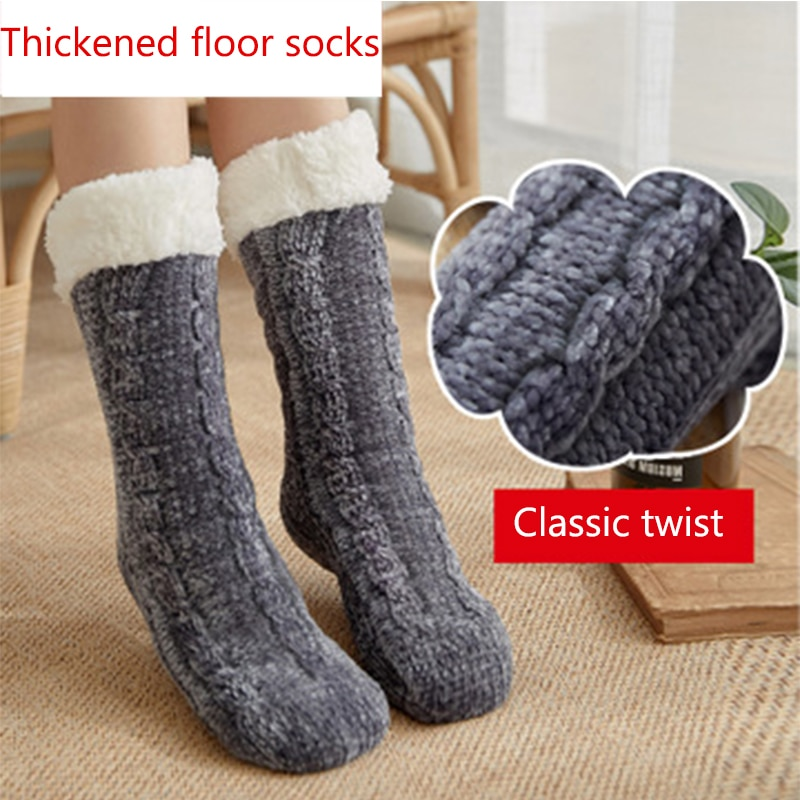 Floor socks adult snow socks sleep socks carpet socks autumn and winter home warmth thickening plus velvet slippers socks women