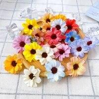 50pcs Chrysantheme Marguerite Fleur Tete Mini Fleur De Soie Artificielle Guirlande Accessoires Scrapbooking Decoration De Mariage A la Maison