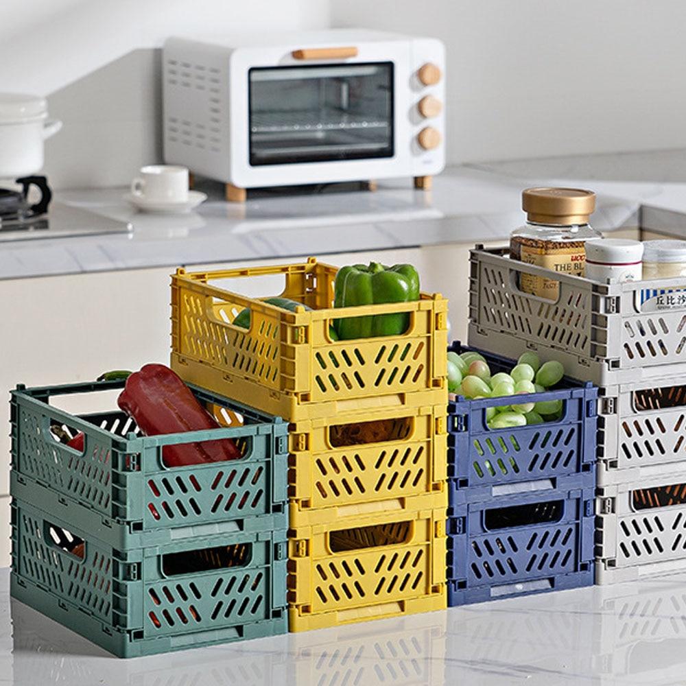 Caja plegable de plástico plegable para almacenamiento, caja apilable para casa, cocina, almacén, cestas de almacenamiento, caja S L