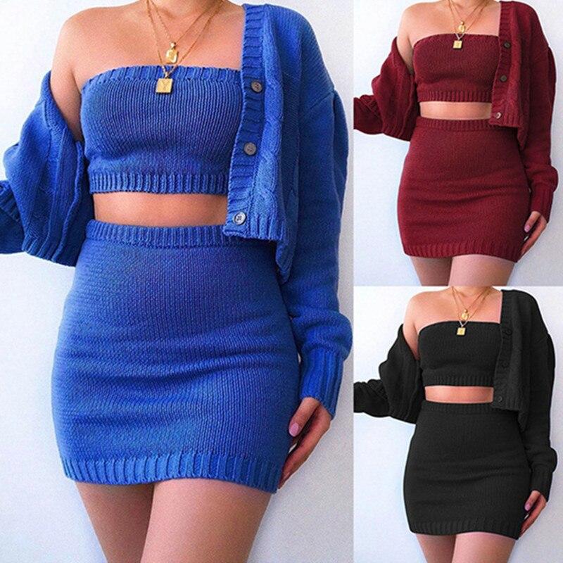 Conjunto blusão feminino com três peças, casual com botões e mangas compridas, cardigan + sutiã de malha + festa moderna, outono e inverno 2020 saia curta