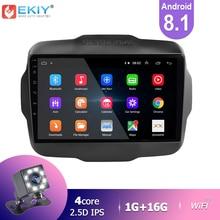 EKIY IPS 안드로이드 8.1 자동차 라디오 Jeep Renegade 2016 2017 2018 스테레오 멀티미디어 비디오 플레이어 GPS 네비게이션 BT 헤드 유닛 USB
