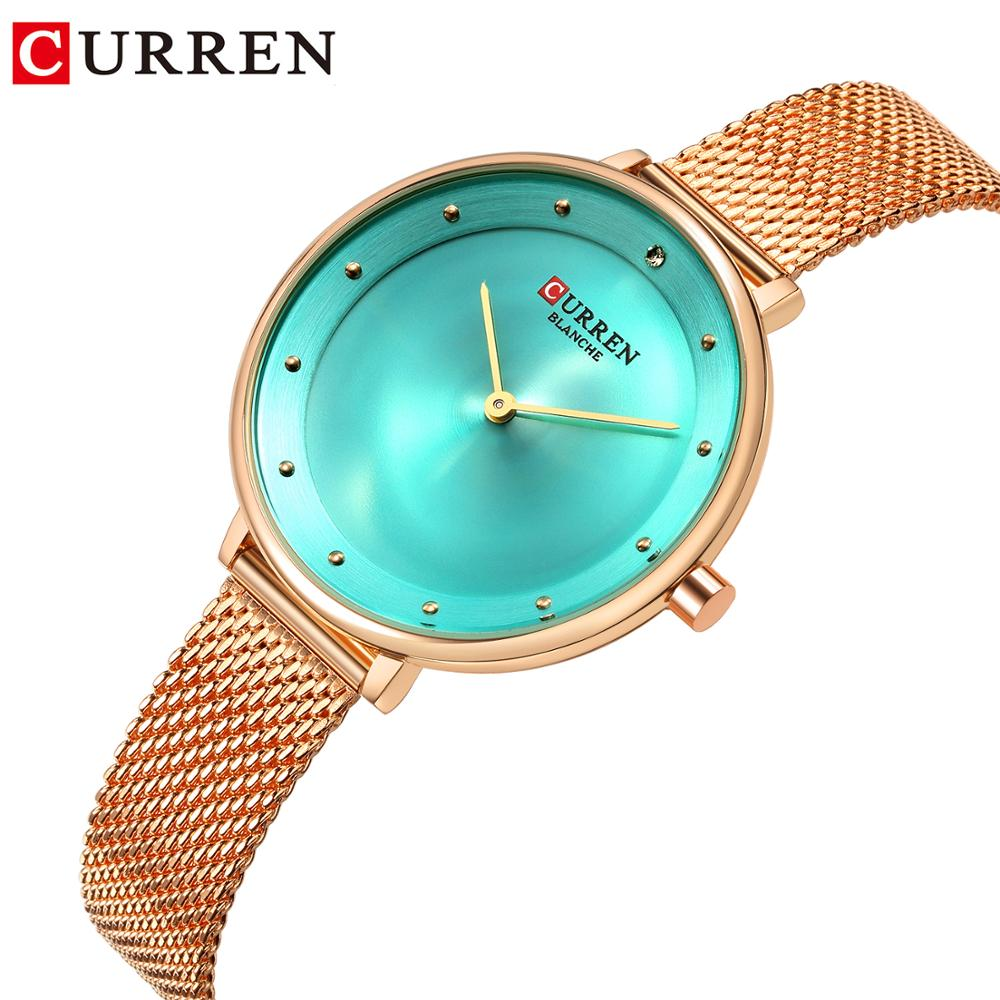 CURREN Rose Gold Watch Rhinestone Green Quartz Women Bracelet Watch Female Clock Stainless Steel Mesh Clock Wrist Watch