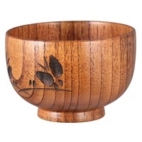 1pc wood soup bowl wooden bowl baby carved rice bowl food container tableware