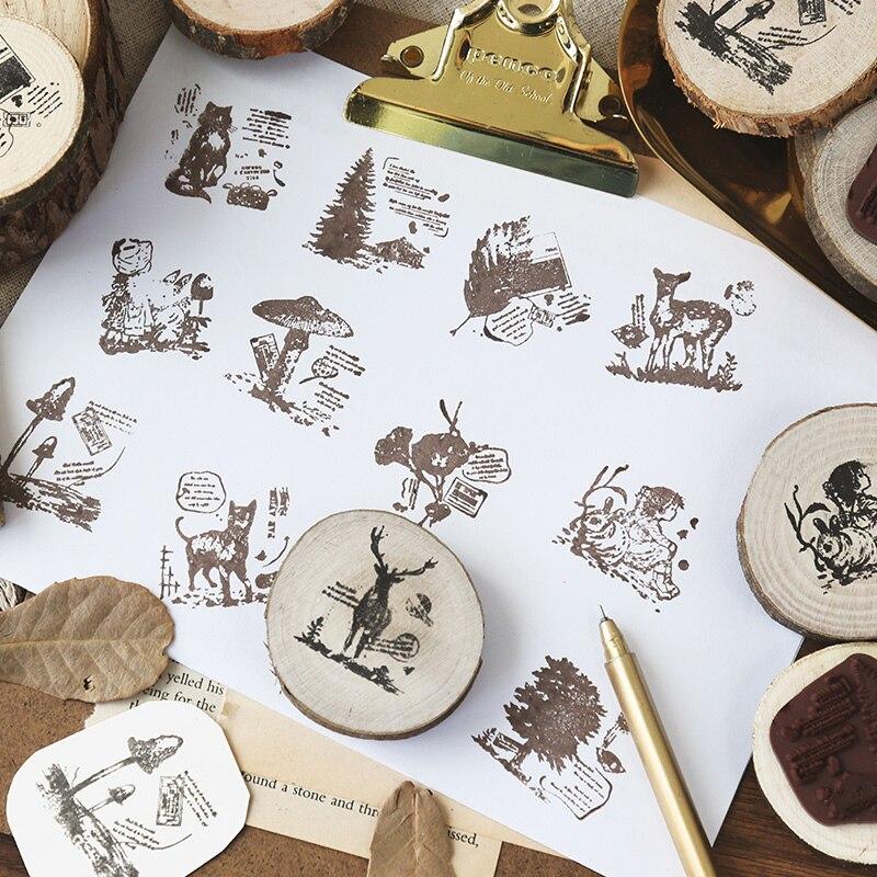 Sello de madera de aventura de bosque redondo vintage, sellos para álbum de recortes de goma para manualidades DIY, papelería de scrapbooking, sello estándar