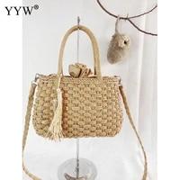 straw bag bucket bag tassels style top handle handbags totes box shaped straw bag clutch summer beach handbags weaving ladies