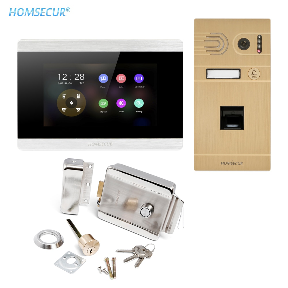 HOMSECUR 4 Wire AHD Video Door Entry Phone Call System with Video Mailbox Fingerprint Unlock IP65 Camera BC061HD-G+BM715HD-S