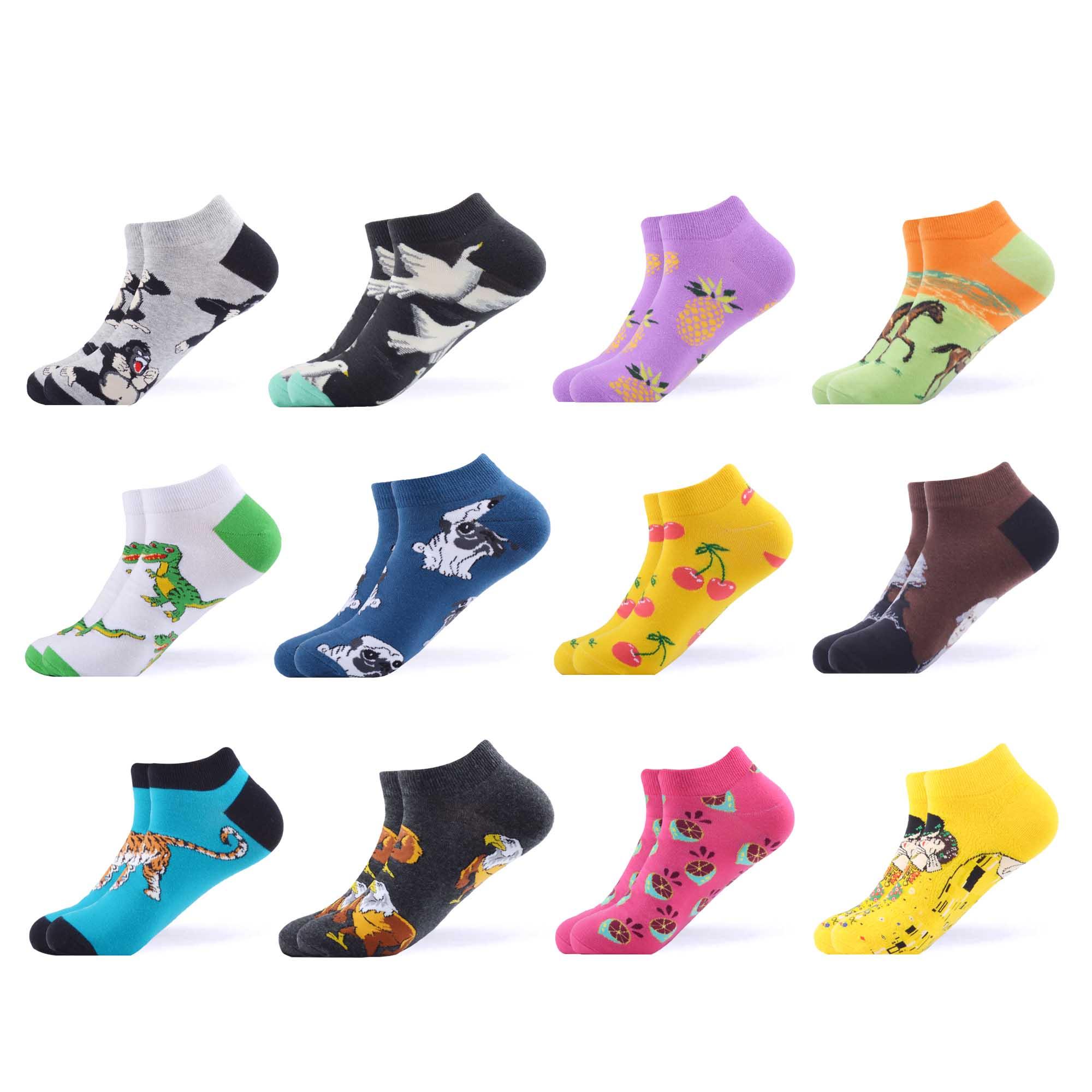 SANZETTI 12 Pairs/Lot Women Crew Socks Casual Combed Cotton Ankle Socks Happy Hip Hop Harajuku Short Socks Dress Boat Socks