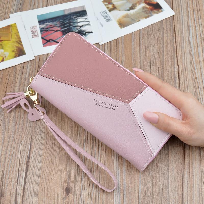 Geometric Patchwork PU Leather Women Long Zipper Wrist Purses Tassel Design Clutch Forever Young Wallet Female Card Holder