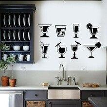 Коктейльная Наклейка на стену, стеклянная чашка для напитков, холодильник, виниловые наклейки для вечеринки, клуба, кухни, пляжа, бара, кафе, ...