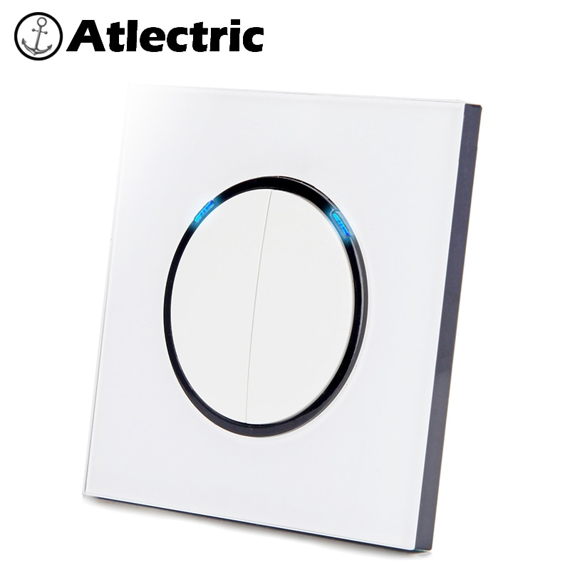 Atlectric 1 2 3 4 Gang 1 2 Way Home Power Light Switch ON / OFF   Button Switch Lamp Light USB EU FR France Socket Glass Panel 86 type 1 2 3 4 gang 1 2way coffee aluminum alloy panel switch socket five hole europe industry switch france germany uk socket